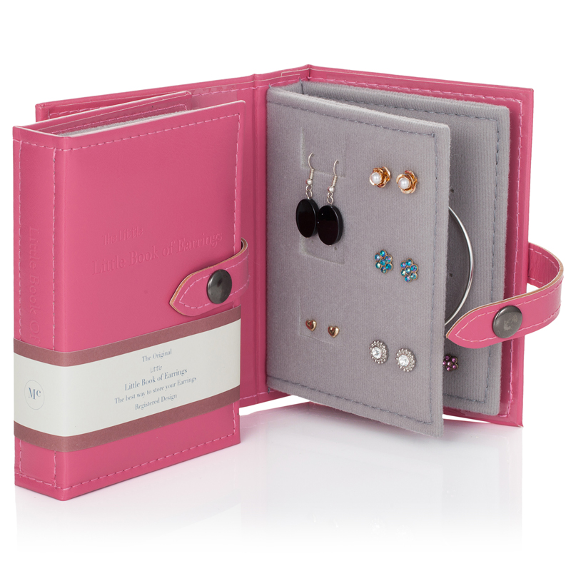 Pink Travel Little Book of Earrings open with earrings inside