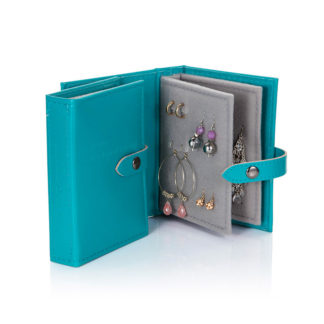 Teal Travel Size Little Book of Earrings open with earrings inside