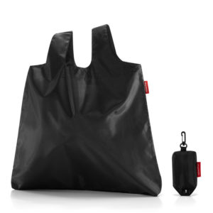 Black Minimaxi Folding Shopper open and in pouch