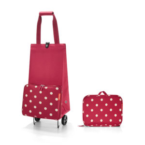 Ruby Dots Folding Shopping Trolley with folded version beside it