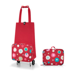 Ruby Funky Dots Folding Shopping Trolley next to folded version