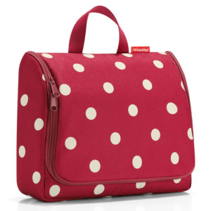 Ruby Dots Reisenthel Extra Large Hanging Wash Bag closed