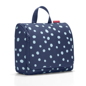Spots Navy Reisenthel Extra Large Hanging Wash Bag Closed