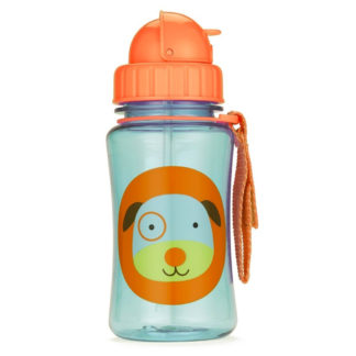 Skip Hop Dog Straw Bottle with the lid closed
