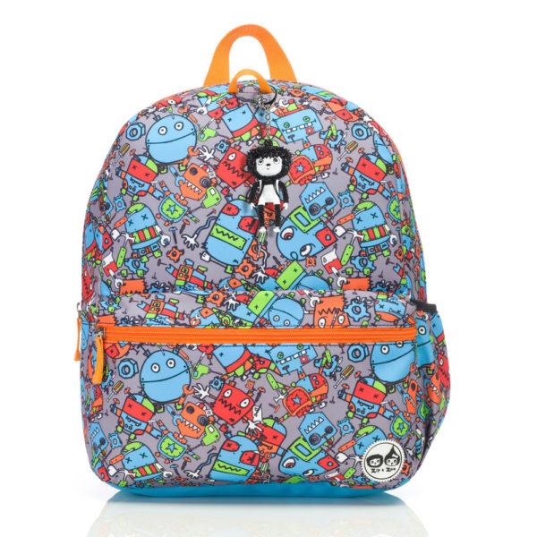 Blue Robots Zip and Zoe Junior Backpack front