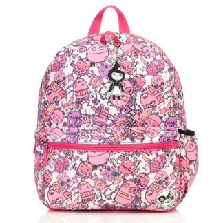 Zip and Zoe Pink Robots Junior Backpack front