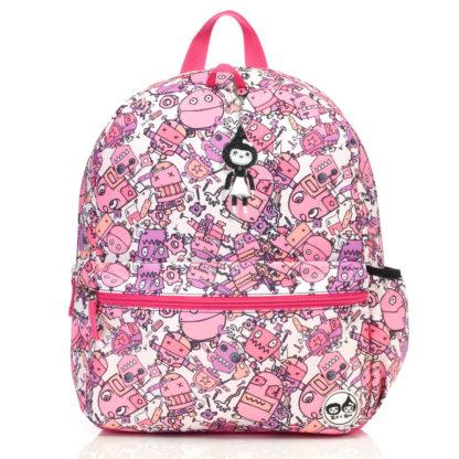 Zip and Zoe Pink Robots Junior Backpack front