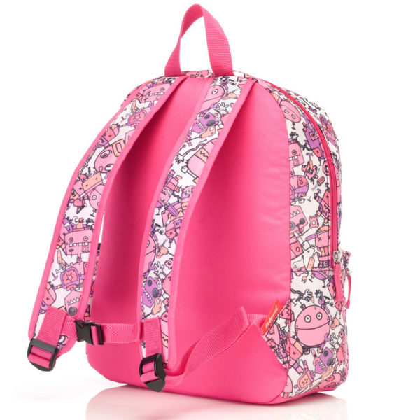 Back of the PInk Robots Zip and Zoe bag showing the adjustable straps