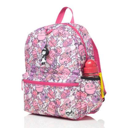 Side bottle pocket of the Pink Robots backpack