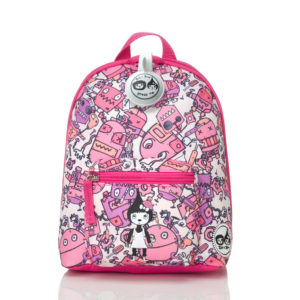 Pink Robots Zip and Zoe Mini Backpack with reins