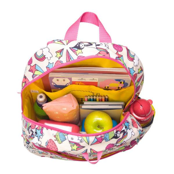 Zip and Zoe Unicorn Junior Backpack packed